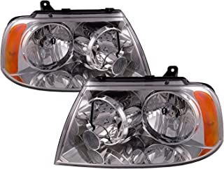 PERDE Halogen Headlights Set With Performance Lens Compatible with 2003-2006 Lincoln Navigator (Chrome)