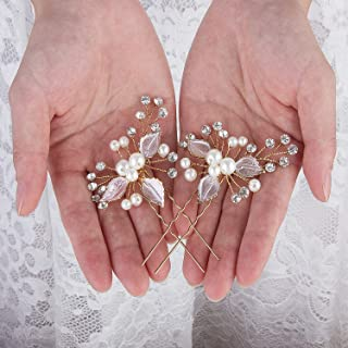 Crownguide Pearl Wedding Hair Piece for Brides Crystal Rhinestones Flower Hair Pins for Bridesmaids Bridal Hair Accessories For Womens Girls Gold