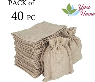 YposHome Pack of 40 Natural Color Burlap Bags with Drawstring 5 x 7 inch for Wedding, Gift Bags for Party, Favor Sacks Pouch, DIY Craft