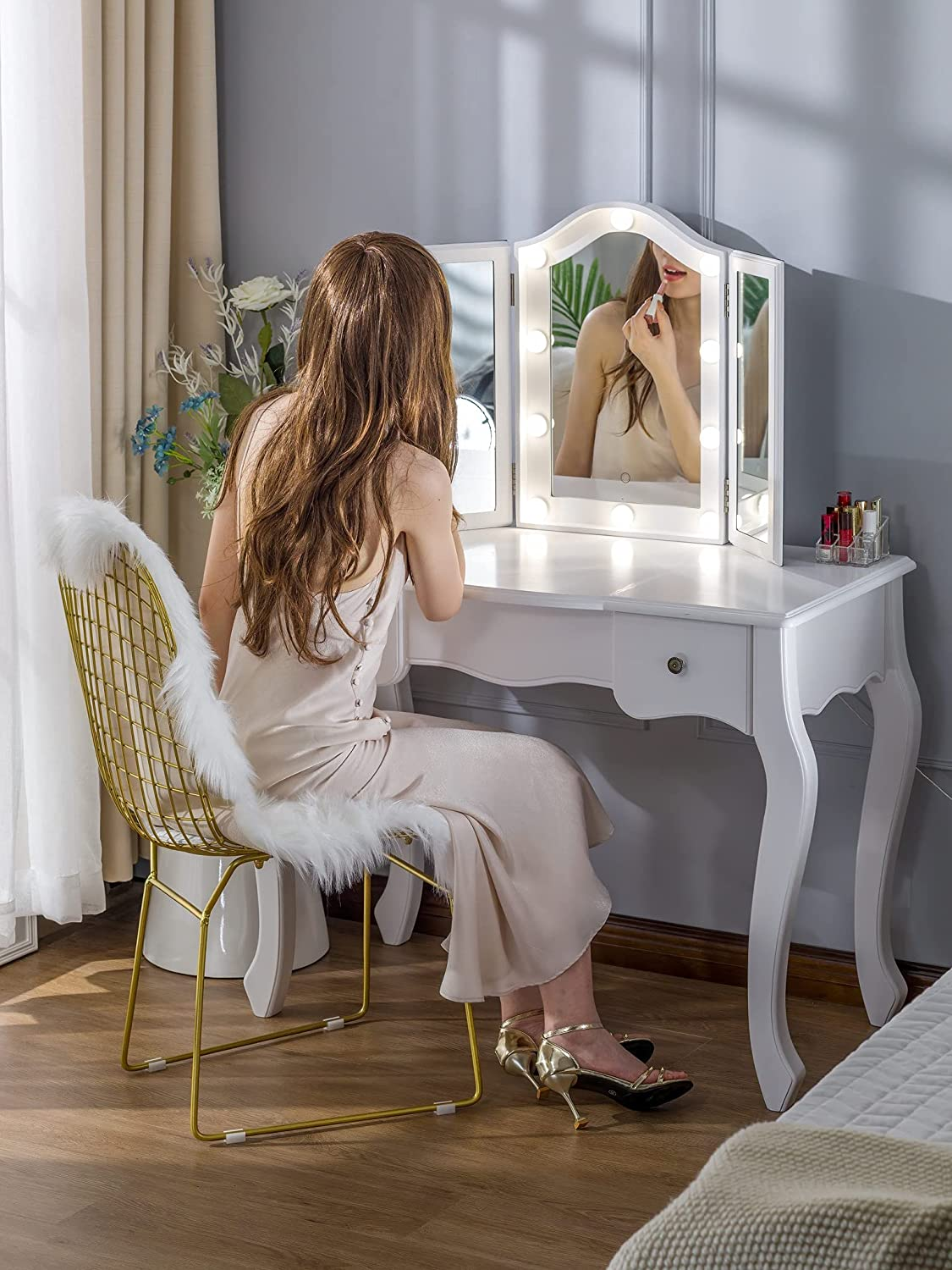 Tri-Fold Makeup Mirror with 10 Dimmable LED Bulbs! .92 (REG: 9.90) at Amazon with coupon and code: Y7AONZYR