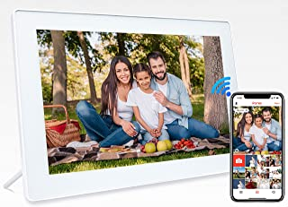 JHZL デジタルフォトフレーム 10.1インチ 木目 IPS タッチスクリーン WiFiクラウド HDフル 写真/動画再生 多人共有可能 16GB内蔵メモリ 日付/カレンダー付 スマホ連動(白い)