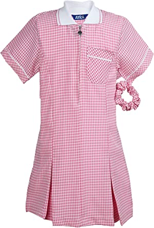 click2style School Uniform Summer Dress Gingham Check Pleated /& Matching Hair Scrunchie 7 Colors