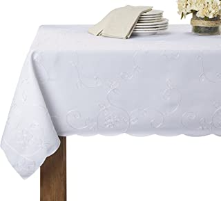 "Violet Linen Dublin Embroidered Design Oblong/Rectangle Tablecloth, 60"" X 90"", White"