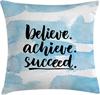 Ambesonne Inspirational Quotes Throw Pillow Cushion Cover by, Believe Achieve Succeed Positive Challenging Saying Brush Lettering, Decorative Square Accent Pillow Case, 20 X 20 Inches, Light Blue