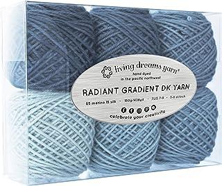 Living Dreams Radiant Gradient DK Yarn. Super Soft Merino Silk. USA Hand Dyed: Thunderstorm