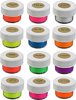 Prestige Fluorescent UV Pigment Powder by UNIGLOW PRODUCTS LLC. | Black Light Reactive | ECO Friendly | Multi-Purpose | Water-Based | (Multi-Color Neon Pigment, 12g (12 x 1g) White Cap)