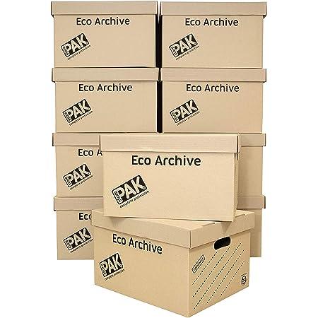 StorePAK Boîtes de rangement et d'archivage en carton écologique avec couvercles – Facile à assembler, rangement à domicile, bureau et déménagement, 33 litres – H 26 x l 34 x P 43 cm