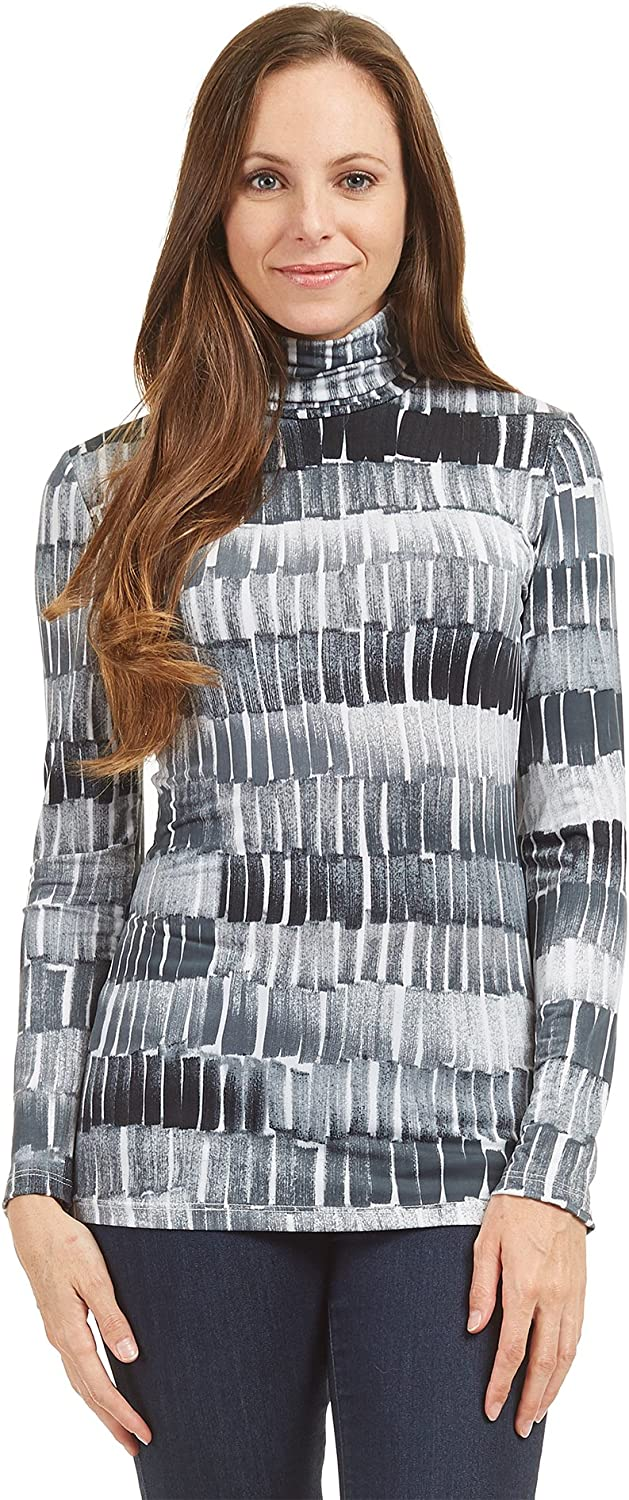 Made by Johnny WSK1325 Womens Print Long Sleeeve Turtleneck Sweater Knit Top XL Black_Grey