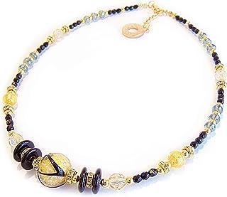 VENEZIA CLASSICA - Collana da Donna girocollo con perle in Vetro di Murano Originale, Collezione Aida, perle con foglia in...