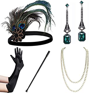1920s Flapper Accessories Gatsby Costume Accessories Set 20s Flapper Headband Pearl Necklace Gloves Cigarette Holder