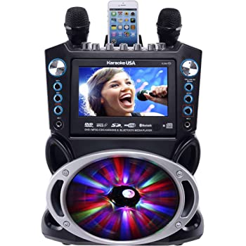 "Karaoke USA GF842 DVD/CDG/MP3G Karaoke Machine with 7"" TFT Color Screen, Record, Bluetooth and LED Sync Lights"