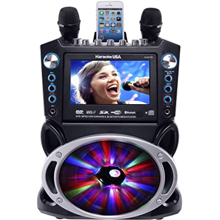 "Karaoke USA GF842 DVD/CDG/MP3G Karaoke Machine with 7"" TFT Color Screen, Record, Bluetooth and LED Sync Lights"