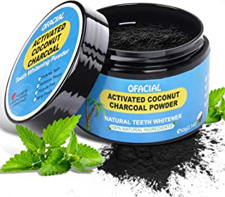 Teeth Whitening Charcoal Powder Natural – Ofacial Organic Activated Charcoal Teeth Whitening Powder from Coconut Shells - Non Abrasive and Proven Perfect for Enamel – 2.8oz
