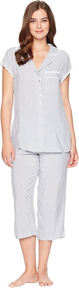 Rayon Notch Collar Capris Pajama Set