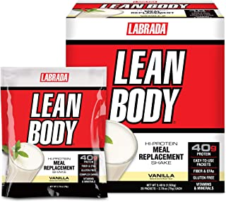 Lean Body MRP All-In-One Vanilla Meal Replacement Shake, 40g Protein, Whey Blend , 8g Healthy Fats EFA's & Fiber, 22 Vitam...