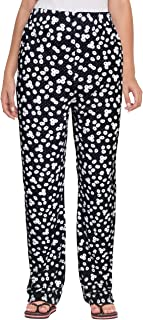 Fflirtygo Women Pyjama Poly-Cotton, Night Dress, Lounge Wear, White Flower Printed on Black Pyjama,–Soft Poly-Cotton Night Wear