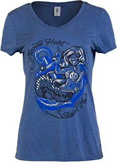 Mermaid Heart, Sailor Mouth | Cute Funny Sassy Sarcastic V-Neck T-Shirt for Women