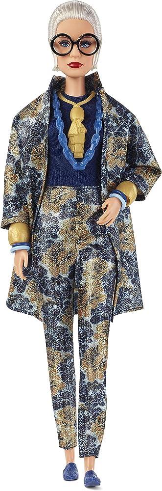Barbie ,styled by iris apfel con abito di broccato a fiori e accessori FWJ28