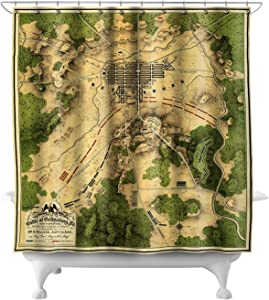 Lantern Press Battle of Gettysburg - Civil War - (1863) - Panoramic Map 20018 (74x74 Polyester Shower Curtain)