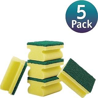 Pevita [5 Pack] Estropajo de Cocina. Estropajo salvauñas para Eliminar Manchas y Grasa. Esponja Multiusos de Triple Capa, Verde y Amarillo.