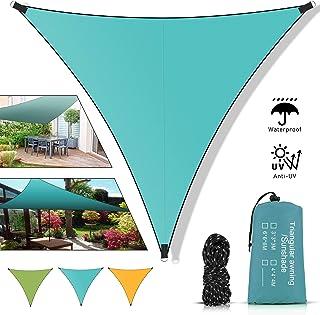 Molbory Voiles d'ombre Triangle 4x4x4 mètres, Voile d'ombrage Triangle avec Corde Libre, Auvent Imperméable UV Protection ...