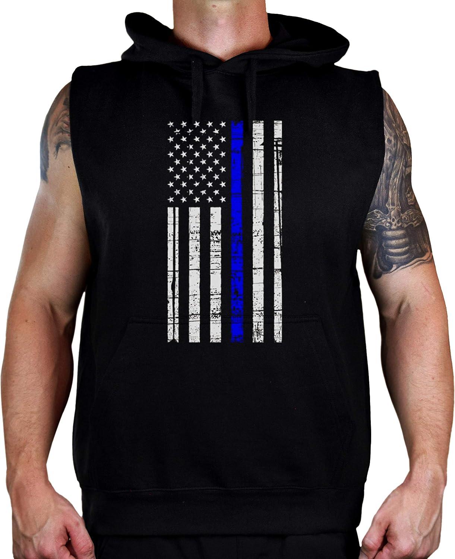 Koyotee Men's Police Flag V Blue Thin Line Black Sleeveless Vest Hoodie