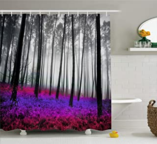 Ambesonne Forest Shower Curtain, Mystical Fantasy Woodland Under Heavy Fog Tall Trees..