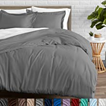 Bare Home Duvet Cover and Sham Set - Twin/Twin Extra Long - Premium 1800 Ultra-Soft Brushed Microfiber - Hypoallergenic, Easy Care, Wrinkle Resistant (Twin/Twin XL, Light Grey)