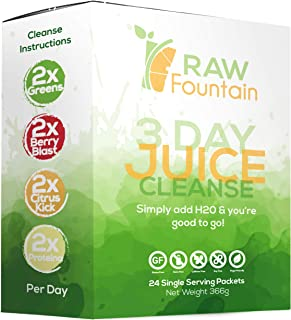3 Day Juice Cleanse Detox, 24 Powder Packets, Travel and Vegan Friendly, Weight Loss Program, All Natural (...