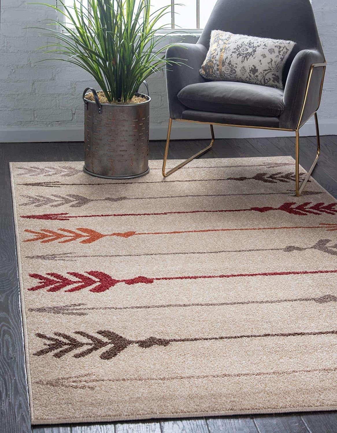 Unique Loom Autumn El Paso Mall Collection Modern Area Toned Free Shipping Cheap Bargain Gift Arrows Rug Warm