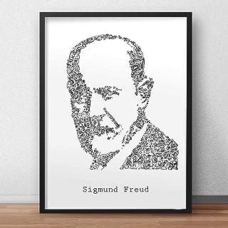 Sigmund Freud stampa con scarabocchi all'interno del ritratto | Molti dettagli su il fondatore della psicoanalisi | poster...
