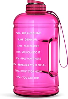 One Gallon Motivational Water Bottle with Times To Drink Marker & Hourly Hydration Measurements – BPA Free & Non Toxic Large Sports Fitness Bottle Jug with Wide Mouth –128 oz