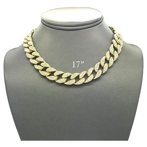 ff476953e5b9 Shiny Jewelers USA Mens Iced Out Hip Hop Gold Tone CZ Miami Cuban Link Chain  Choker