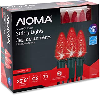 NOMA LED Christmas Lights | 70-Count C6 Red Bulbs | 23' 8