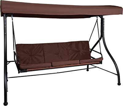 Flash Furniture 3-Seat Outdoor Steel Converting Patio Swing Canopy Hammock with Cushions/Outdoor Swing Bed (Brown)