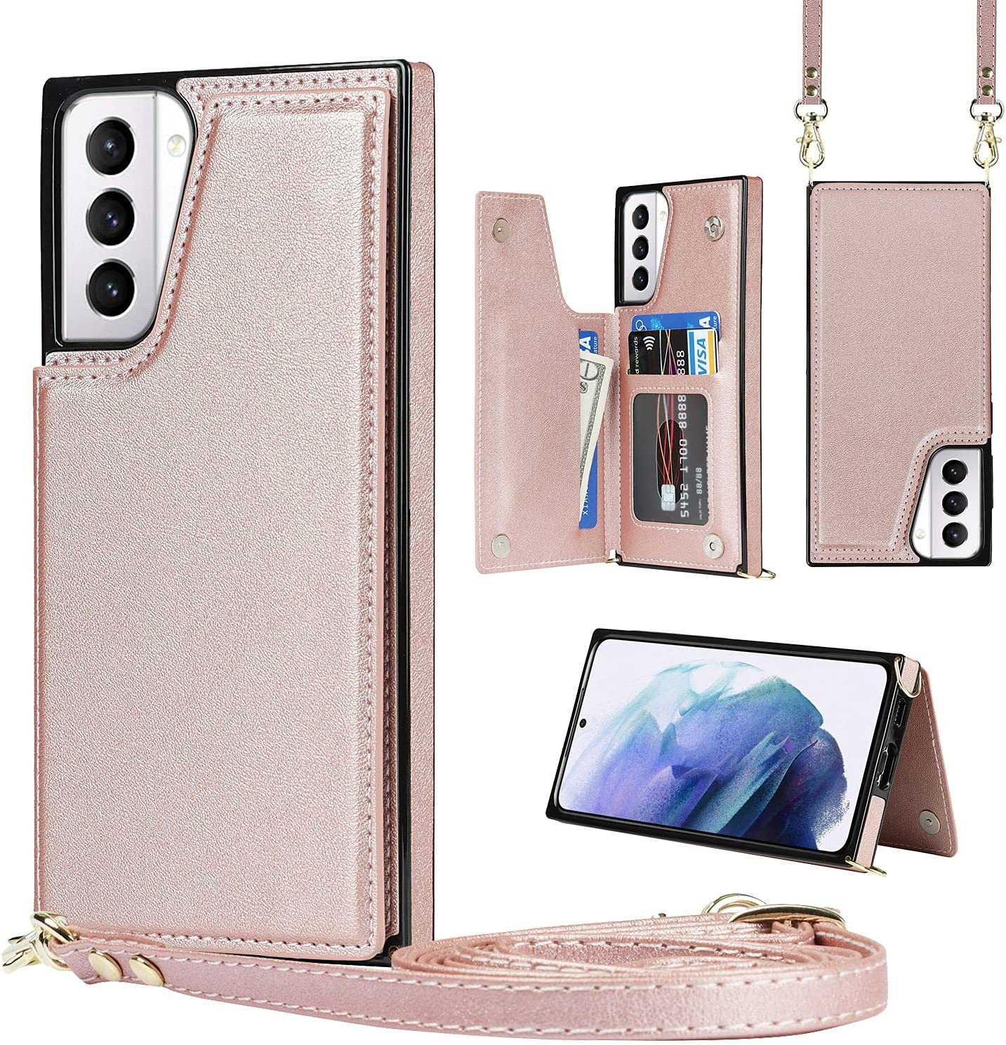 Crossbody Case for iPhone X TPU Leather Shockproof Cover, Wonderful Wallet Function, Kick Stand RFID Blocking Material Lanyard Strap with Women Girl (Rose Gold)
