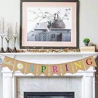 Hello Spring Banner Burlap - Rustic Spring Banner Garland - Spring Decorations - Indoor Outdoor Mantel Fireplace Hanging Decor