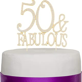 Ella Celebration 50 & Fabulous Cake Topper Gold for 50th Birthday Party Decoration Supplies (50 & Fabulous Gold)