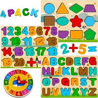 Puzzle Bois Enfant 3 4 5 Ans, 4 en 1 Jouet Montessori avec Alphabet Numérique Forme Horloge, Jouet Éducatif Préscolaire Ap...
