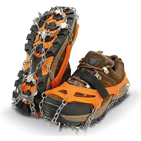 IPSXP Crampones, 19 Dientes Tacos de tracción Nieve y Hielo Tracción para Invierno Deportes Montañismo Escalada Caminar Alpinismo Cámping Acampada Senderismo (M)