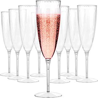 Plastic Champagne Flutes Disposable - Plastic Wine Glasses Set for Wedding - 6 oz Disposable Champagne Flutes - Plastic Champagne Glasses - Plastic Stemware - Mimosa Glasses - BPA Free Cups Set of 16