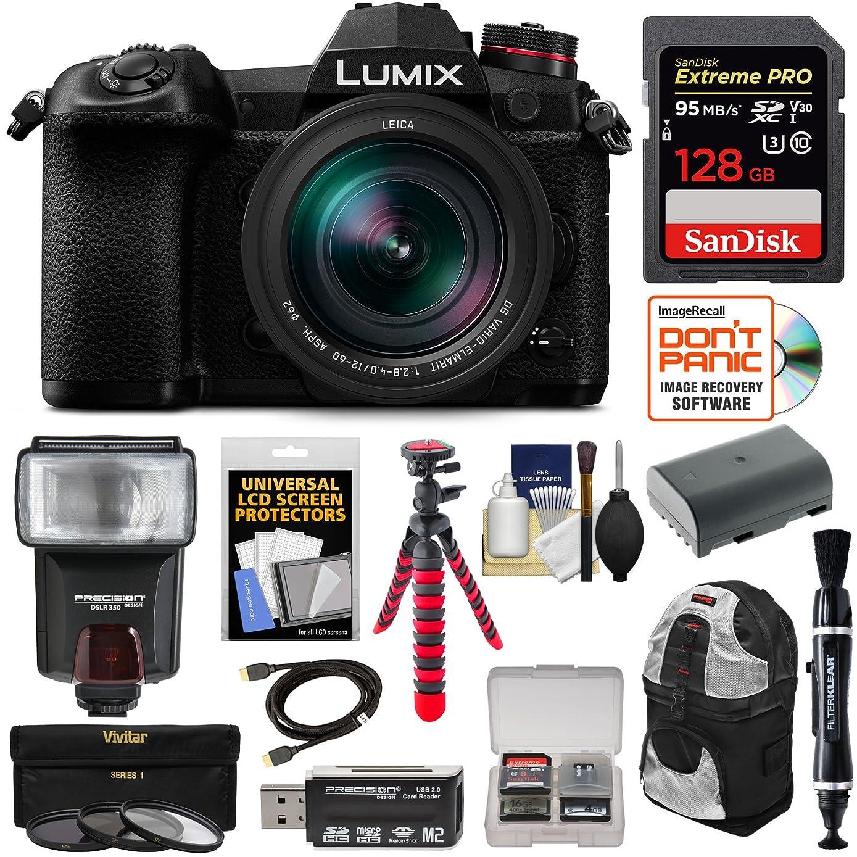 Panasonic Lumix DC-G9 4K Wi-Fi Digital Camera & 12-60mm f/2.8-4.0 Lens with 128GB Card + Battery + Backpack + Flash + Tripod + Kit