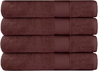 COTTON CRAFT - 4 Pack Luxuriously Oversized Hotel Bath Towel - Plum - 100% Ringspun Cotton - 30x58 - Heavy Weight 700 Grams - 2 Ply Construction - Highly Absorbent - Easy Care Machine Wash