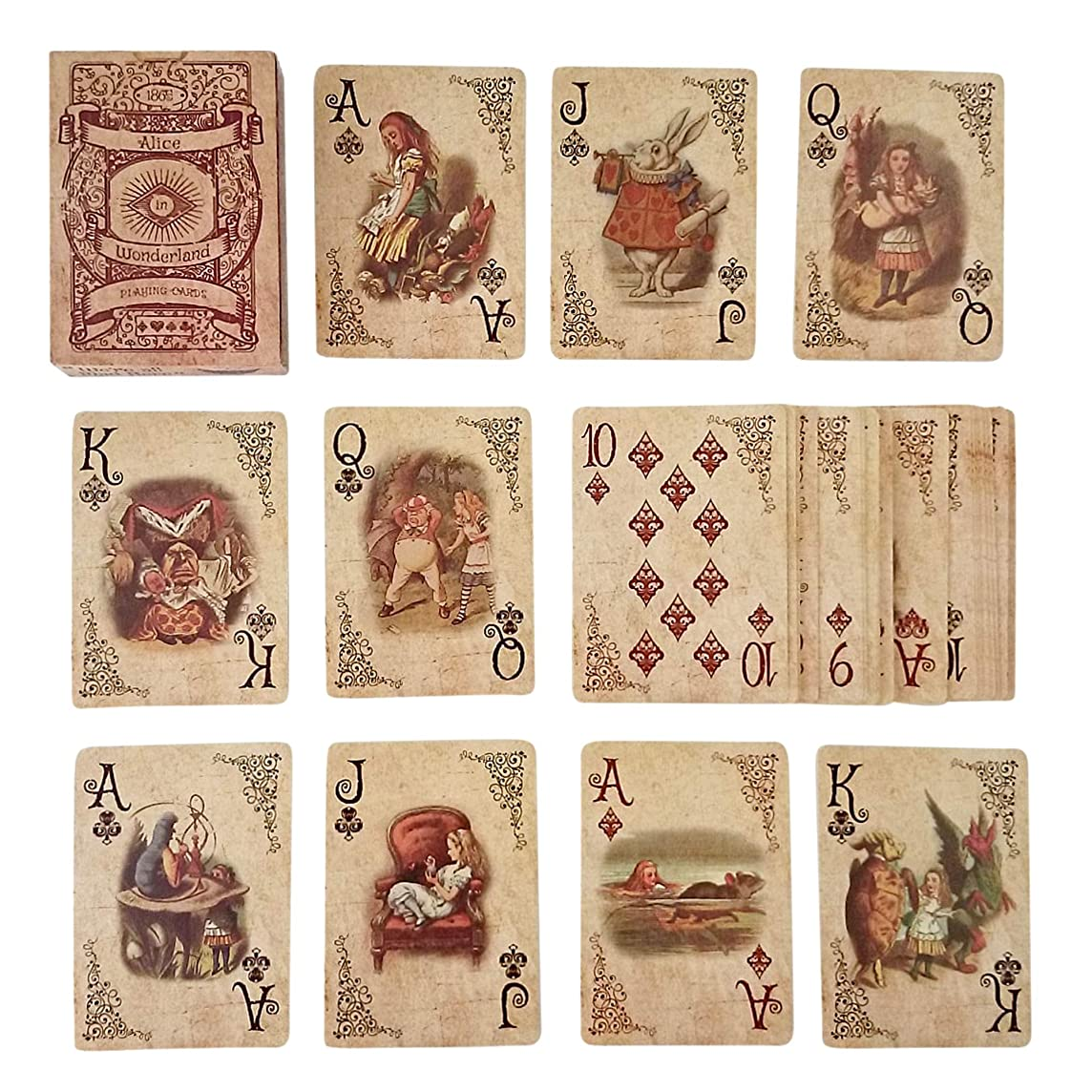 ASVP Shop Alice In Wonderland Playing Cards - Full Set is Ideal for Themed Parties, Props, Theme, and Games