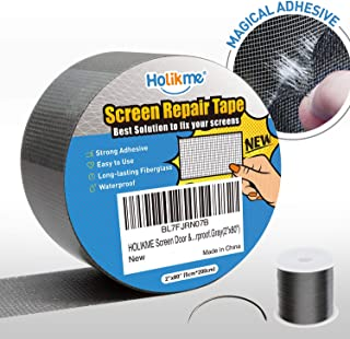 Holikme Window Screen Repair Kit Door Window Fly Lanai Screen Repair Patch Tape Strong Adhesive Long Lasting Fiberglass Covering Wire Mesh Repair Tape Seal for Repair Holes Tears (2×80inch)