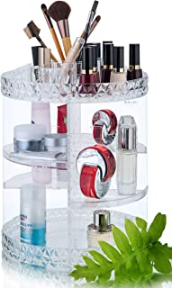 RoLeDo Makeup Organizer 360 Degree Rotating Crystal Adjustable Large Capacity Vanity Cosmetic Jewelry Storage Display Stand Tray Box Carousel Shelf Holder for Perfumes and Bathroom (Clear, Acrylic)