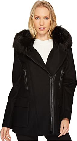 Wool Asymmetric PU Trim with Removable Fur Trimmed Hood