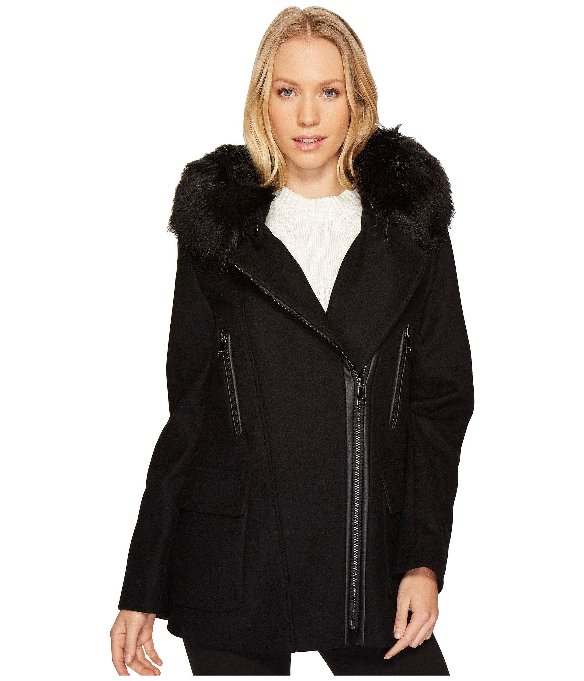 Black pu fur trim coat