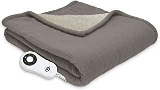"Serta | Reversible Sherpa/Fleece Heated Electric Throw Blanket, 50""x60"" With 5.."