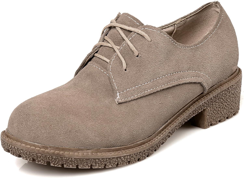 DoraTasia Cow Leather Nubuck Lace up Women's Platform Oxford shoes